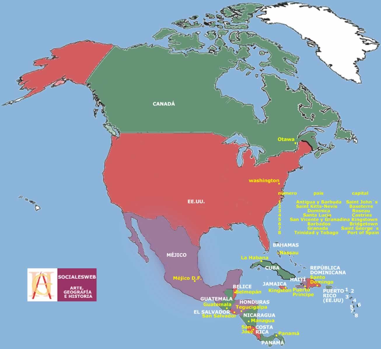 mapa america do norte